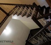 Монолитные лестницы, облицовка дубом