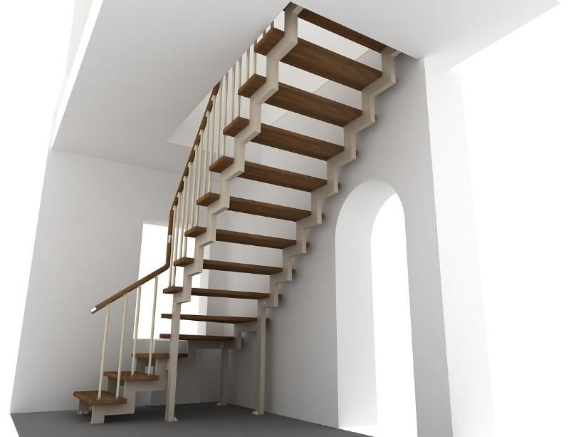 лестница на второй этаж из комбинированных материалов