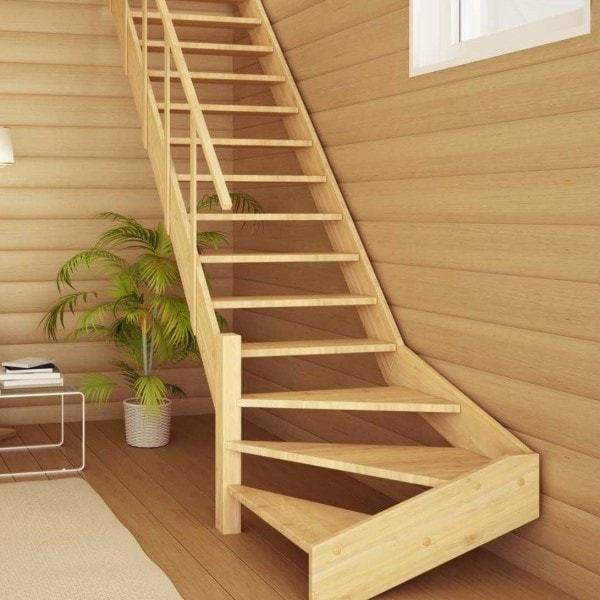 Прямые лестницы с поворотными ступенями