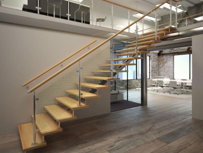 лестница на монокосоуре с забежными ступенями
