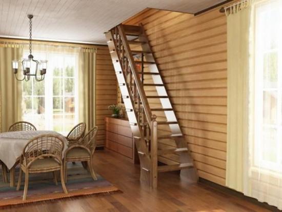 Одномаршевая лестница на второй этаж